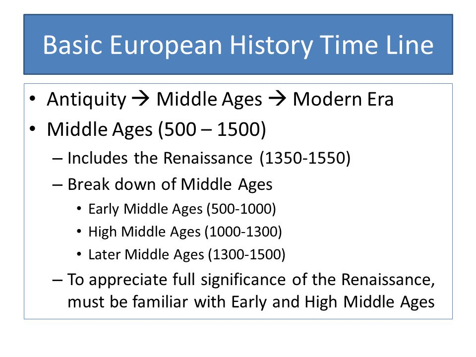 Basic European History Time Line Antiquity  Middle Ages  Modern Era Middle Ages (500 – 1500) – Includes the Renaissance (1350-1550) – Break down of