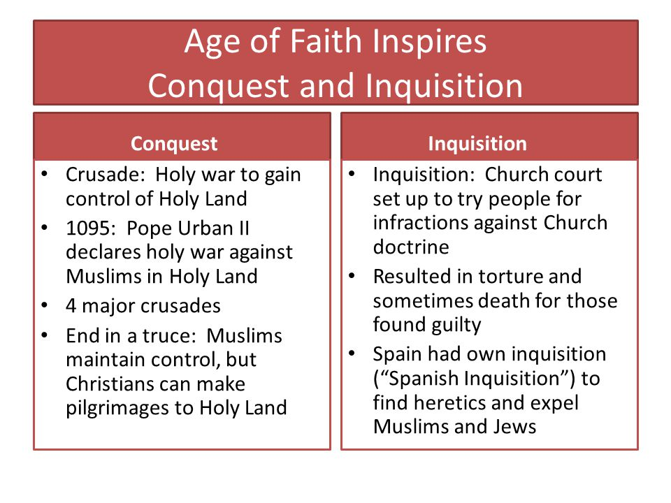 Age of Faith Inspires Conquest and Inquisition Conquest Crusade: Holy war to gain control of Holy Land 1095: Pope Urban II declares holy war against M