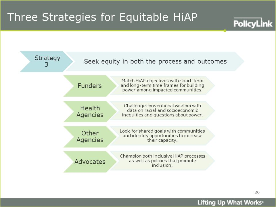 Three Strategies for Equitable HiAP 26 Strategy 3 Seek equity in both the process and outcomes Funders Match HiAP objectives with short-term and long-term time frames for building power among impacted communities.