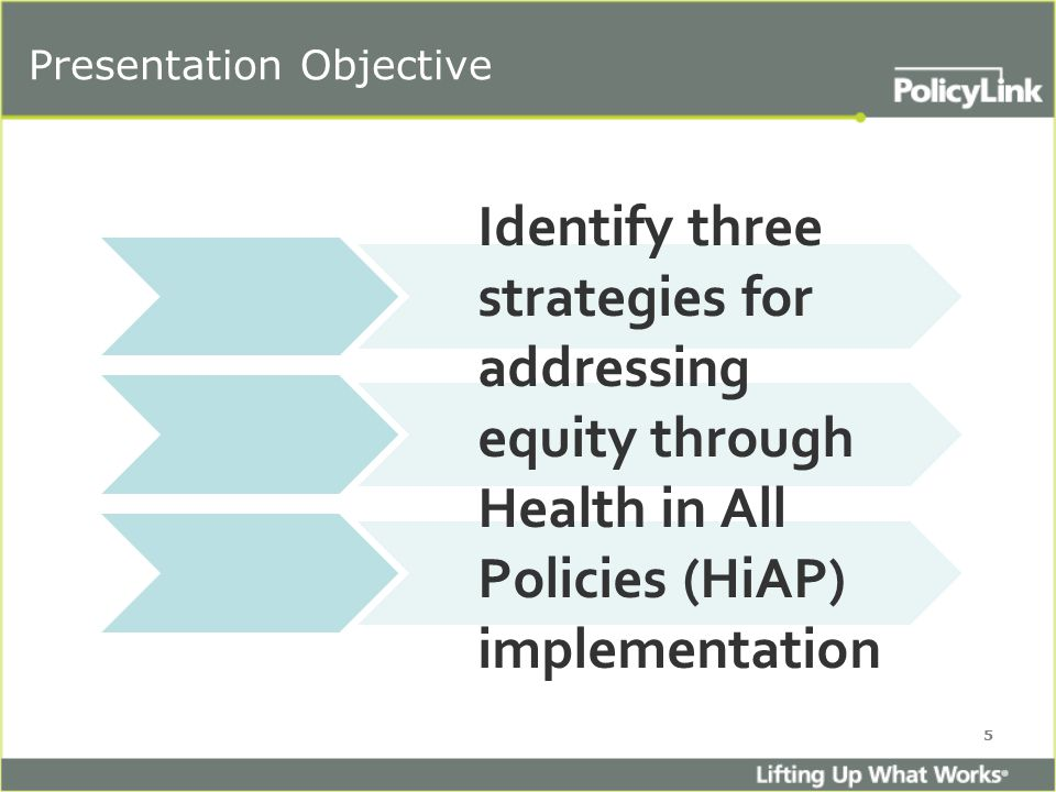 Presentation Objective Identify three strategies for addressing equity through Health in All Policies (HiAP) implementation 5