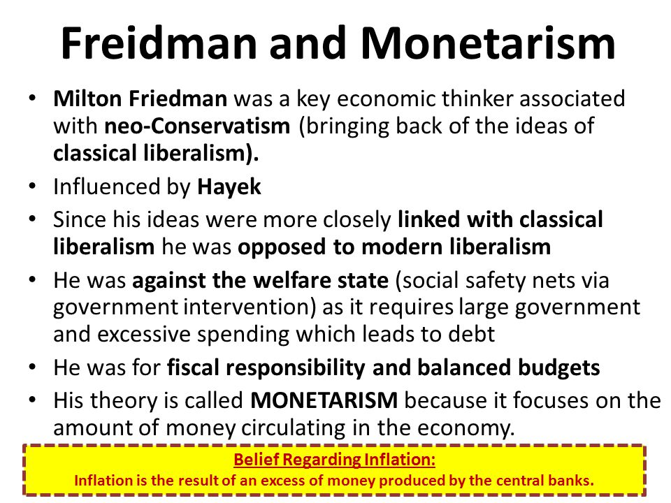 Freidman and Monetarism Milton Friedman was a key economic thinker associated with neo-Conservatism (bringing back of the ideas of classical liberalis