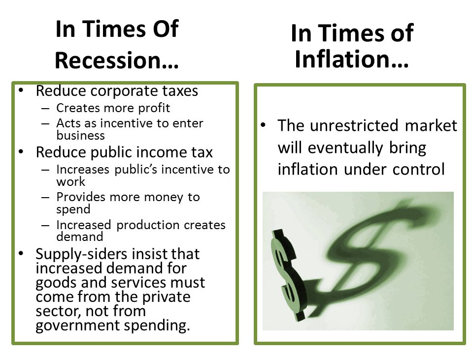 In Times Of Recession… Reduce corporate taxes – Creates more profit – Acts as incentive to enter business Reduce public income tax – Increases public'