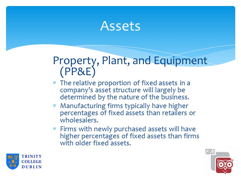 Assets Property, Plant, and Equipment (PP&E)  The relative proportion of fixed assets in a company's asset structure will largely be determined by the nature of the business.