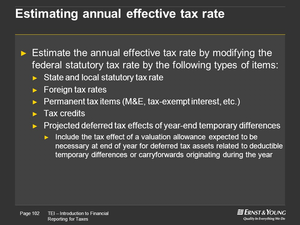 22 May, 2008Presentation titlePage 102TEI – Introduction to Financial Reporting for Taxes Page 102 Estimating annual effective tax rate ► Estimate the annual effective tax rate by modifying the federal statutory tax rate by the following types of items: ► State and local statutory tax rate ► Foreign tax rates ► Permanent tax items (M&E, tax-exempt interest, etc.) ► Tax credits ► Projected deferred tax effects of year-end temporary differences ► Include the tax effect of a valuation allowance expected to be necessary at end of year for deferred tax assets related to deductible temporary differences or carryforwards originating during the year