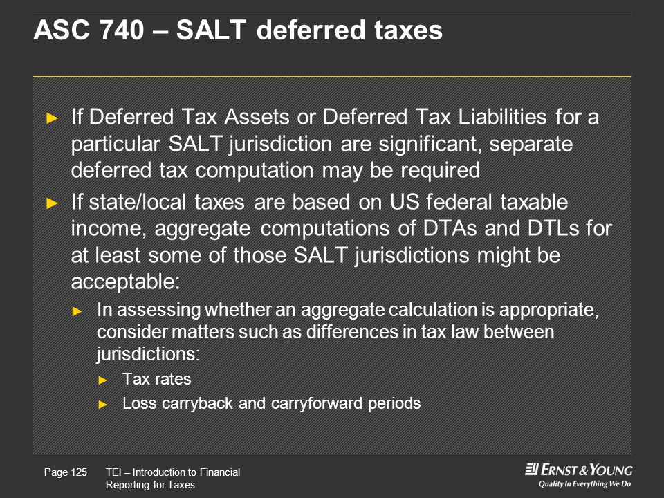 22 May, 2008Presentation titlePage 125TEI – Introduction to Financial Reporting for Taxes Page 125 ASC 740 – SALT deferred taxes ► If Deferred Tax Assets or Deferred Tax Liabilities for a particular SALT jurisdiction are significant, separate deferred tax computation may be required ► If state/local taxes are based on US federal taxable income, aggregate computations of DTAs and DTLs for at least some of those SALT jurisdictions might be acceptable: ► In assessing whether an aggregate calculation is appropriate, consider matters such as differences in tax law between jurisdictions: ► Tax rates ► Loss carryback and carryforward periods