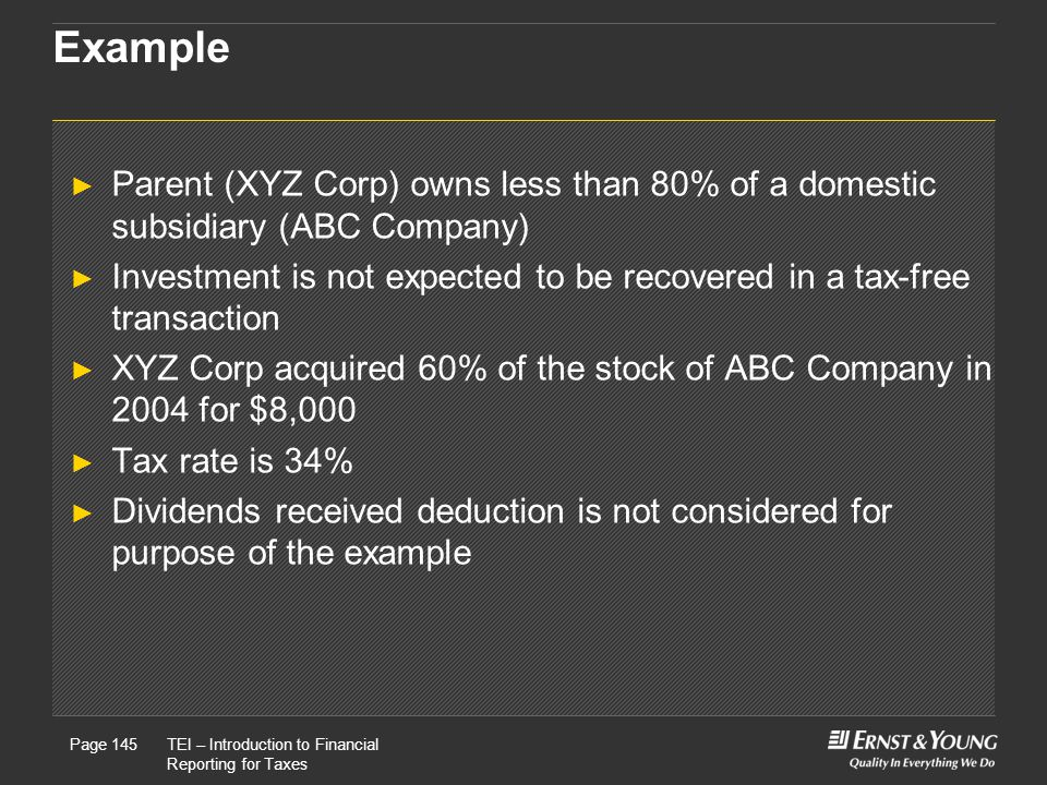 22 May, 2008Presentation titlePage 145TEI – Introduction to Financial Reporting for Taxes Page 145 Example ► Parent (XYZ Corp) owns less than 80% of a domestic subsidiary (ABC Company) ► Investment is not expected to be recovered in a tax-free transaction ► XYZ Corp acquired 60% of the stock of ABC Company in 2004 for $8,000 ► Tax rate is 34% ► Dividends received deduction is not considered for purpose of the example