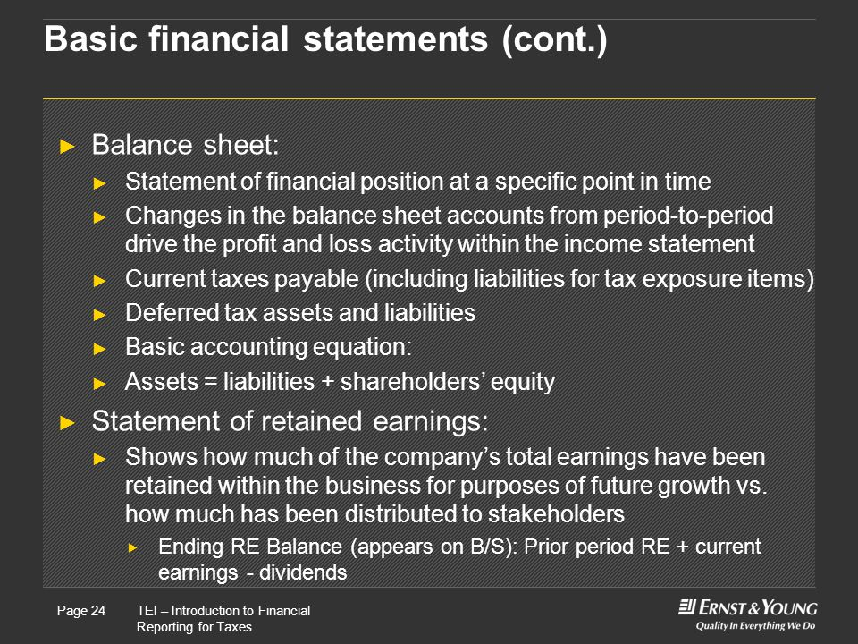 22 May, 2008Presentation titlePage 24TEI – Introduction to Financial Reporting for Taxes Page 24 Basic financial statements (cont.) ► Balance sheet: ► Statement of financial position at a specific point in time ► Changes in the balance sheet accounts from period-to-period drive the profit and loss activity within the income statement ► Current taxes payable (including liabilities for tax exposure items) ► Deferred tax assets and liabilities ► Basic accounting equation: ► Assets = liabilities + shareholders' equity ► Statement of retained earnings: ► Shows how much of the company's total earnings have been retained within the business for purposes of future growth vs.