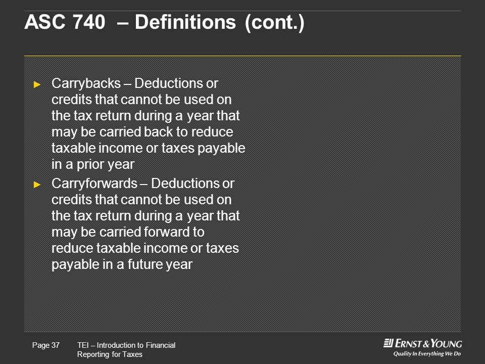 22 May, 2008Presentation titlePage 37TEI – Introduction to Financial Reporting for Taxes Page 37 ASC 740 – Definitions (cont.) ► Carrybacks – Deductions or credits that cannot be used on the tax return during a year that may be carried back to reduce taxable income or taxes payable in a prior year ► Carryforwards – Deductions or credits that cannot be used on the tax return during a year that may be carried forward to reduce taxable income or taxes payable in a future year