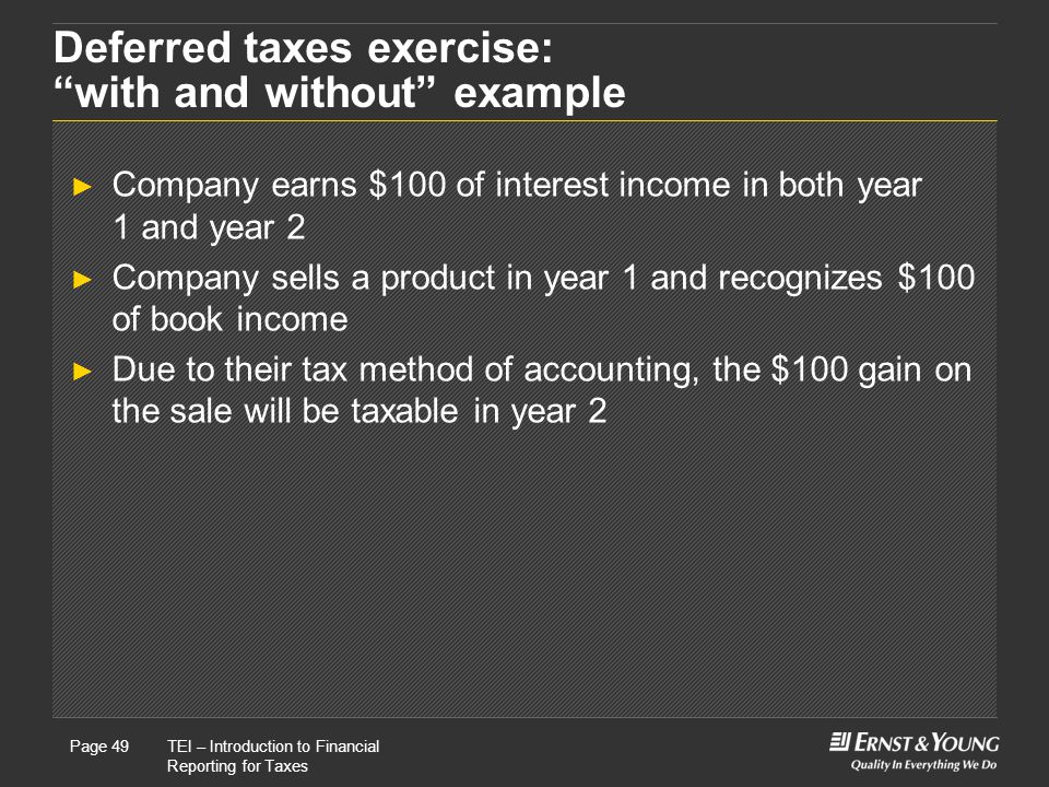 22 May, 2008Presentation titlePage 49TEI – Introduction to Financial Reporting for Taxes Page 49 Deferred taxes exercise: with and without example ► Company earns $100 of interest income in both year 1 and year 2 ► Company sells a product in year 1 and recognizes $100 of book income ► Due to their tax method of accounting, the $100 gain on the sale will be taxable in year 2