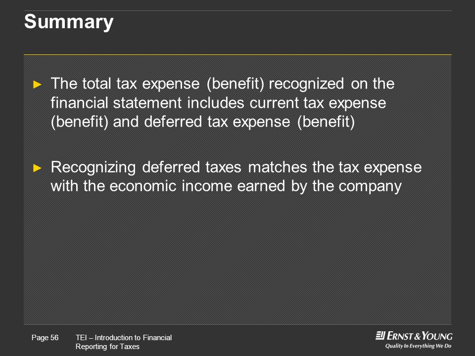 22 May, 2008Presentation titlePage 56TEI – Introduction to Financial Reporting for Taxes Page 56 Summary ► The total tax expense (benefit) recognized on the financial statement includes current tax expense (benefit) and deferred tax expense (benefit) ► Recognizing deferred taxes matches the tax expense with the economic income earned by the company