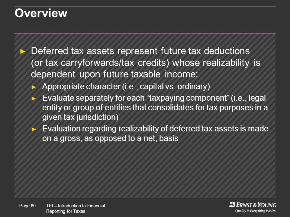 22 May, 2008Presentation titlePage 60TEI – Introduction to Financial Reporting for Taxes Page 60 Overview ► Deferred tax assets represent future tax deductions (or tax carryforwards/tax credits) whose realizability is dependent upon future taxable income: ► Appropriate character (i.e., capital vs.