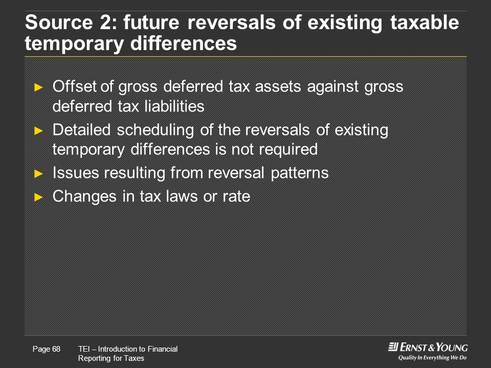 22 May, 2008Presentation titlePage 68TEI – Introduction to Financial Reporting for Taxes Page 68 Source 2: future reversals of existing taxable temporary differences ► Offset of gross deferred tax assets against gross deferred tax liabilities ► Detailed scheduling of the reversals of existing temporary differences is not required ► Issues resulting from reversal patterns ► Changes in tax laws or rate