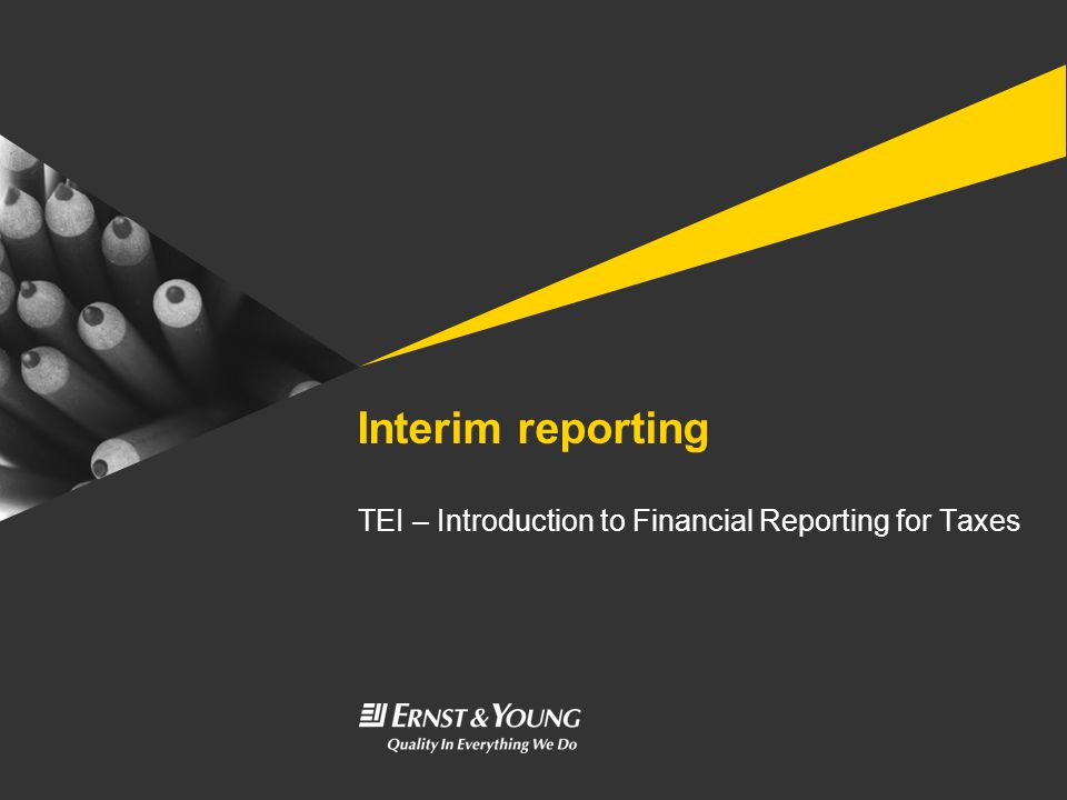 Interim reporting TEI – Introduction to Financial Reporting for Taxes