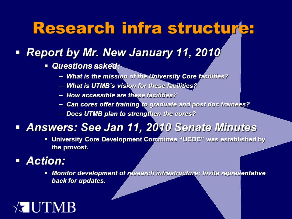 Research infra structure:  Report by Mr.