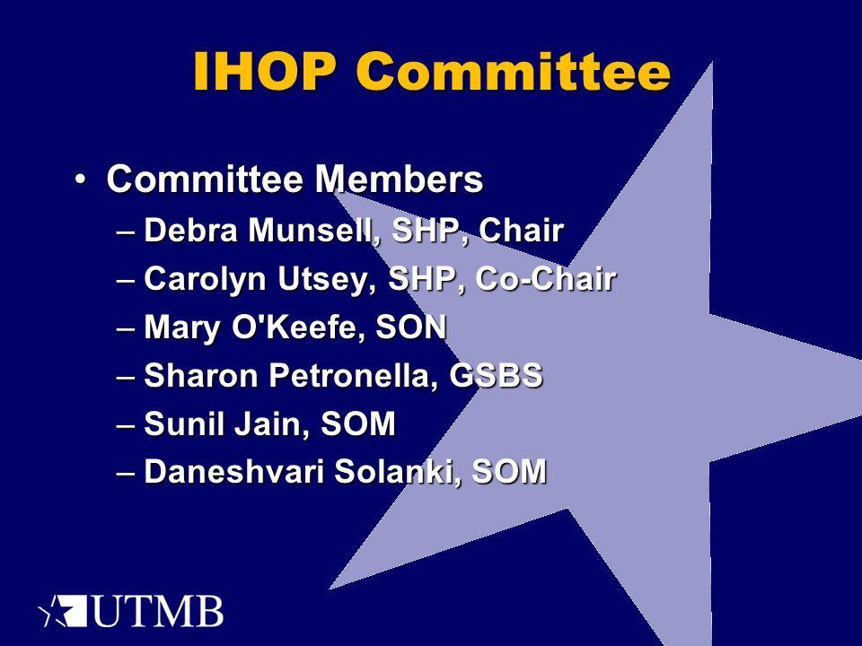 IHOP Committee Committee MembersCommittee Members –Debra Munsell, SHP, Chair –Carolyn Utsey, SHP, Co-Chair –Mary O Keefe, SON –Sharon Petronella, GSBS –Sunil Jain, SOM –Daneshvari Solanki, SOM