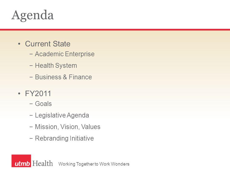 Agenda Current State −Academic Enterprise −Health System −Business & Finance FY2011 −Goals −Legislative Agenda −Mission, Vision, Values −Rebranding In