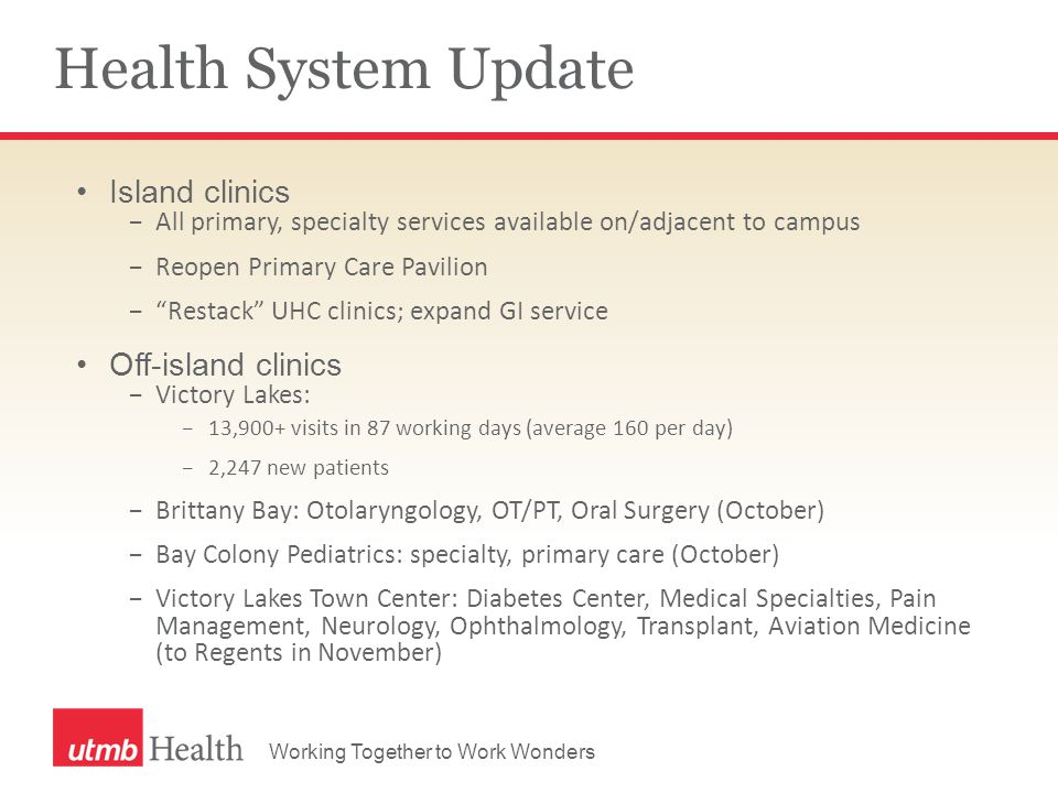 Working Together to Work Wonders Health System Update Island clinics −All primary, specialty services available on/adjacent to campus −Reopen Primary Care Pavilion − Restack UHC clinics; expand GI service Off-island clinics −Victory Lakes: −13,900+ visits in 87 working days (average 160 per day) −2,247 new patients −Brittany Bay: Otolaryngology, OT/PT, Oral Surgery (October) −Bay Colony Pediatrics: specialty, primary care (October) −Victory Lakes Town Center: Diabetes Center, Medical Specialties, Pain Management, Neurology, Ophthalmology, Transplant, Aviation Medicine (to Regents in November)
