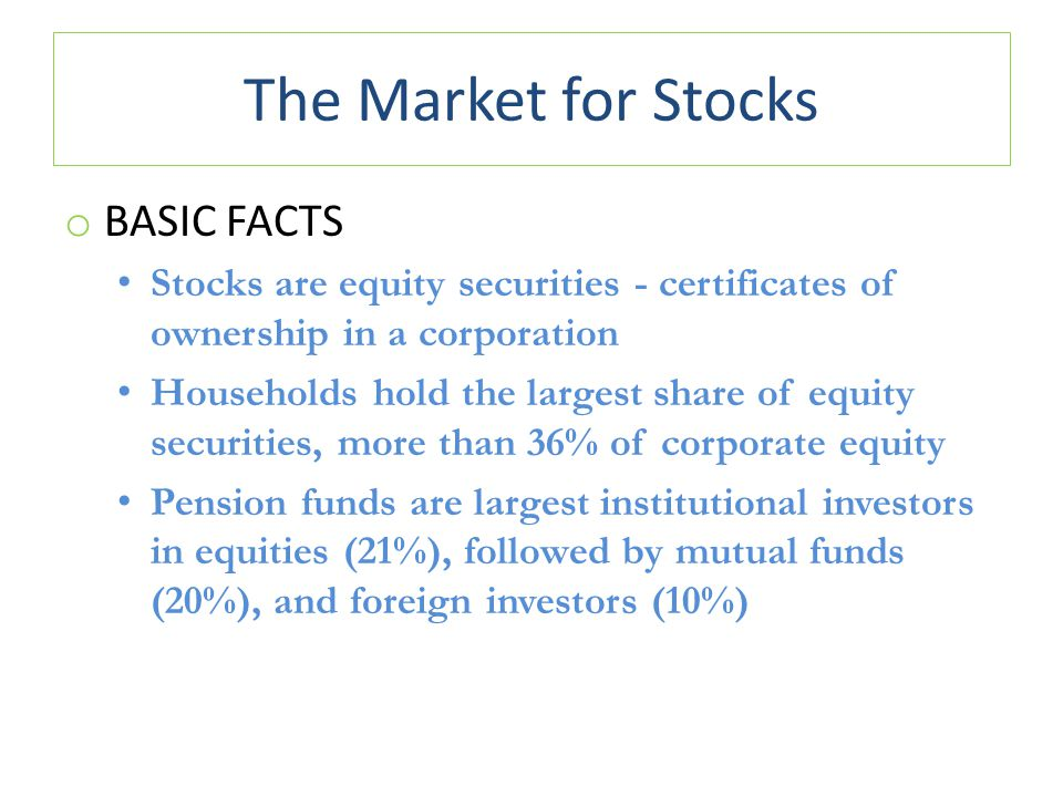 The Market for Stocks o BASIC FACTS Stocks are equity securities - certificates of ownership in a corporation Households hold the largest share of equity securities, more than 36% of corporate equity Pension funds are largest institutional investors in equities (21%), followed by mutual funds (20%), and foreign investors (10%)