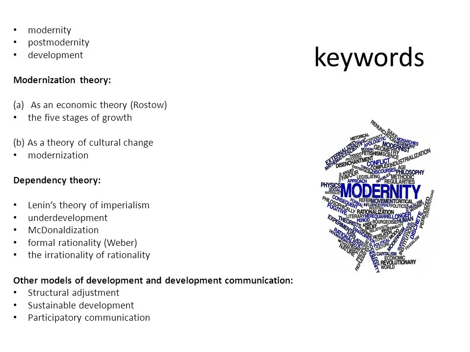 keywords modernity postmodernity development Modernization theory: (a)As an economic theory (Rostow) the five stages of growth (b) As a theory of cult