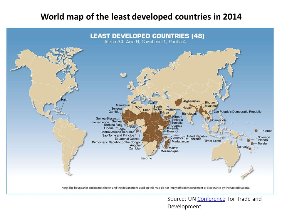 World map of the least developed countries in 2014 Source: UN Conference for Trade and DevelopmentConference