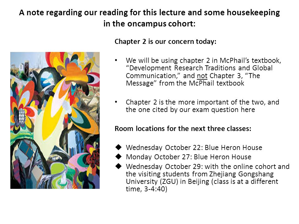 A note regarding our reading for this lecture and some housekeeping in the oncampus cohort: Chapter 2 is our concern today: We will be using chapter 2