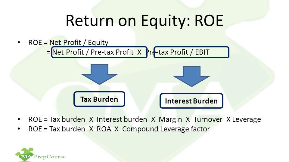 Return on Equity: ROE ROE = Net Profit / Equity = Net Profit / Pre-tax Profit X Pre-tax Profit / EBIT ROE = Tax burden X Interest burden X Margin X Tu