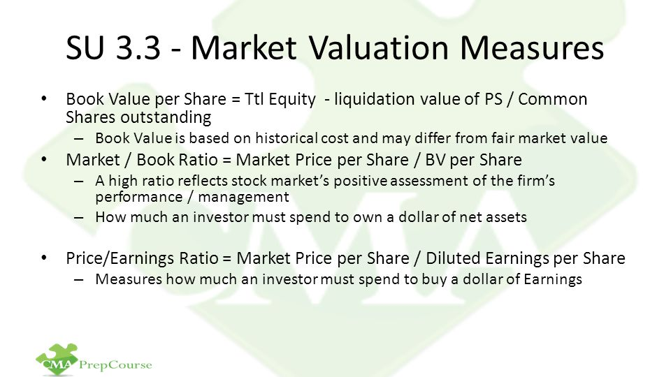SU 3.3 - Market Valuation Measures Book Value per Share = Ttl Equity - liquidation value of PS / Common Shares outstanding – Book Value is based on hi