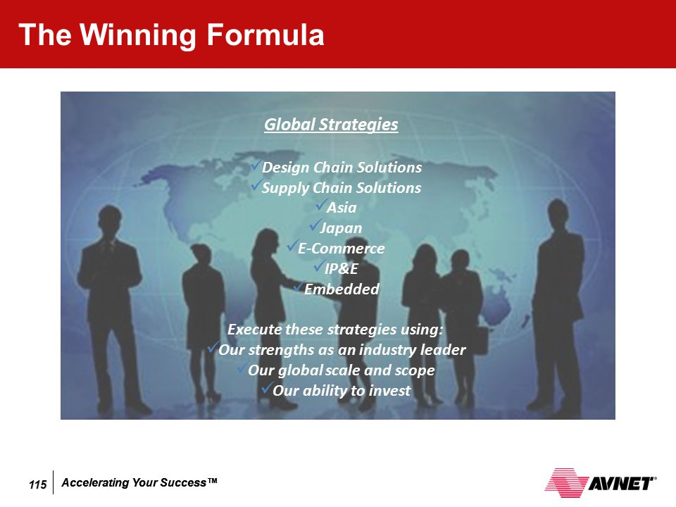 Accelerating Your Success™ The Winning Formula Global Strategies Design Chain Solutions Supply Chain Solutions Asia Japan E-Commerce IP&E Embedded Exe