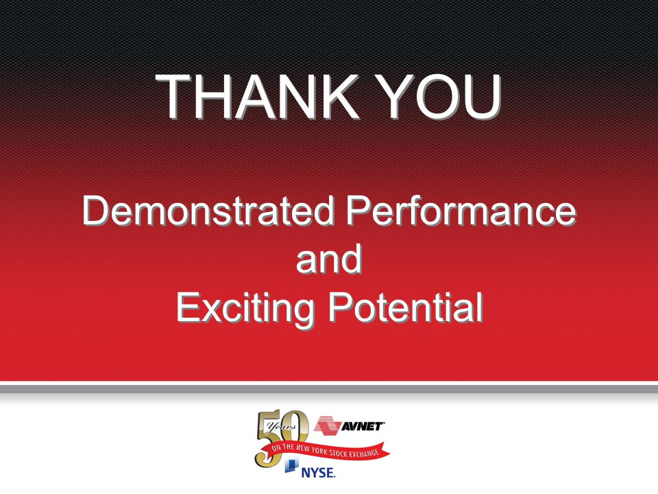 Accelerating Your Success™ Demonstrated Performance and Exciting Potential THANK YOU