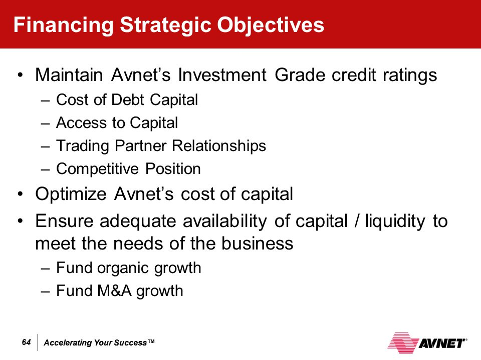 Accelerating Your Success™ 64 Financing Strategic Objectives Maintain Avnet's Investment Grade credit ratings –Cost of Debt Capital –Access to Capital