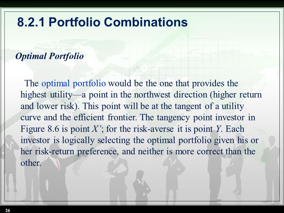 Optimal Portfolio The optimal portfolio would be the one that provides the highest utility—a point in the northwest direction (higher return and lower