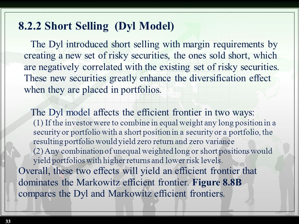 8.2.2 Short Selling (Dyl Model) The Dyl introduced short selling with margin requirements by creating a new set of risky securities, the ones sold sho