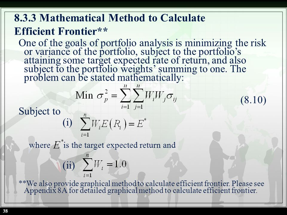 8.3.3 Mathematical Method to Calculate Efficient Frontier** One of the goals of portfolio analysis is minimizing the risk or variance of the portfolio