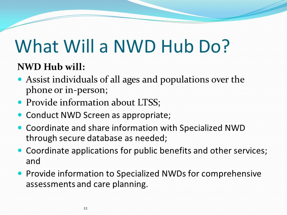 What Will a NWD Hub Do.