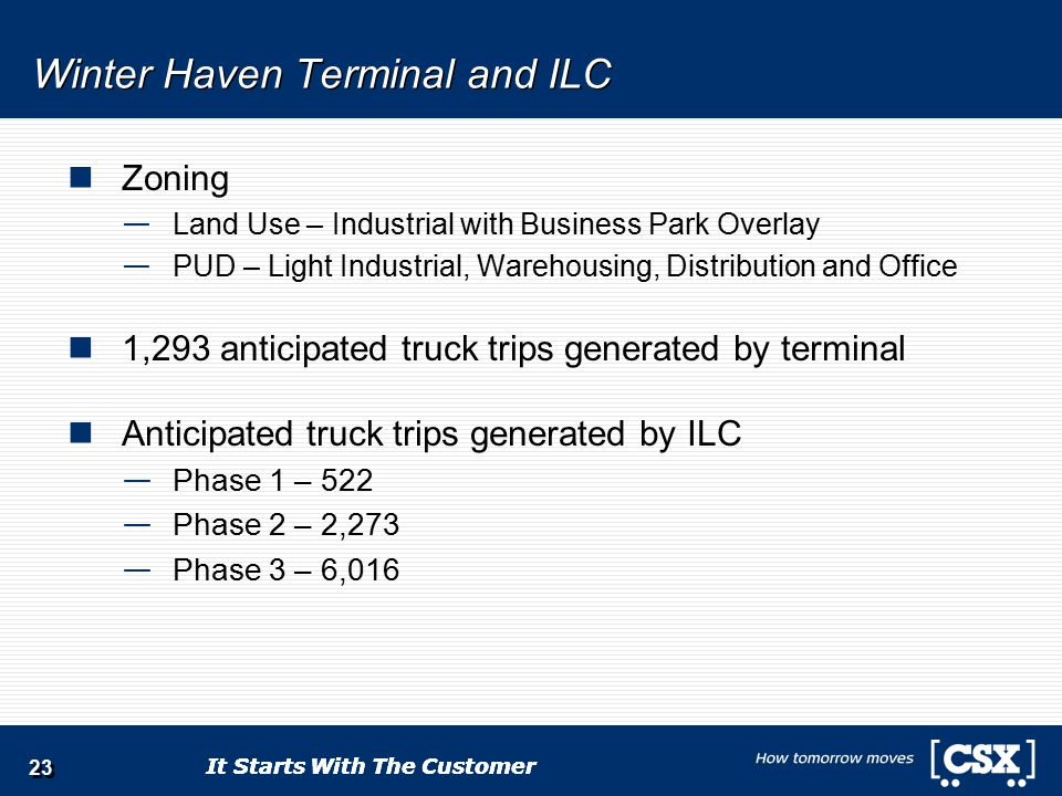 It Starts With The Customer Winter Haven Terminal and ILC Zoning — Land Use – Industrial with Business Park Overlay — PUD – Light Industrial, Warehousing, Distribution and Office 1,293 anticipated truck trips generated by terminal Anticipated truck trips generated by ILC — Phase 1 – 522 — Phase 2 – 2,273 — Phase 3 – 6,016 23
