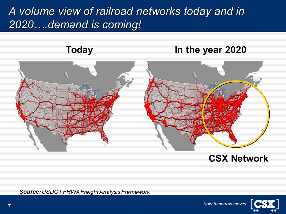 7 A volume view of railroad networks today and in 2020….demand is coming.