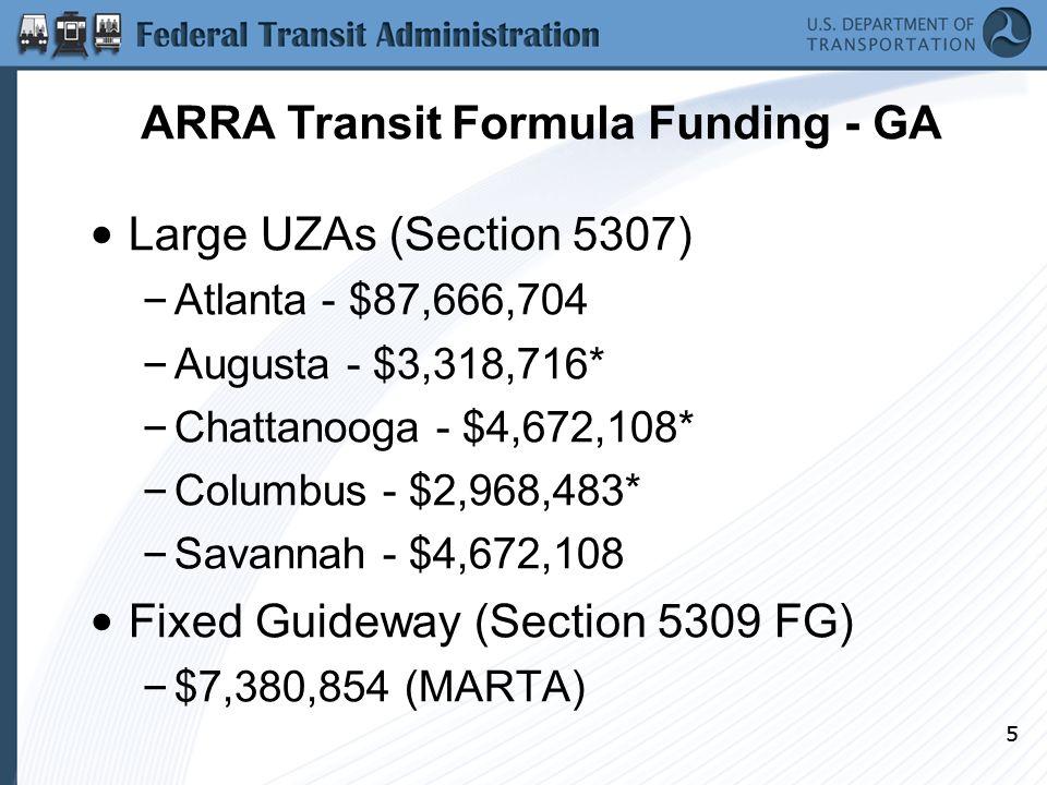 55 Large UZAs (Section 5307) – Atlanta - $87,666,704 – Augusta - $3,318,716* – Chattanooga - $4,672,108* – Columbus - $2,968,483* – Savannah - $4,672,108 Fixed Guideway (Section 5309 FG) – $7,380,854 (MARTA) ARRA Transit Formula Funding - GA