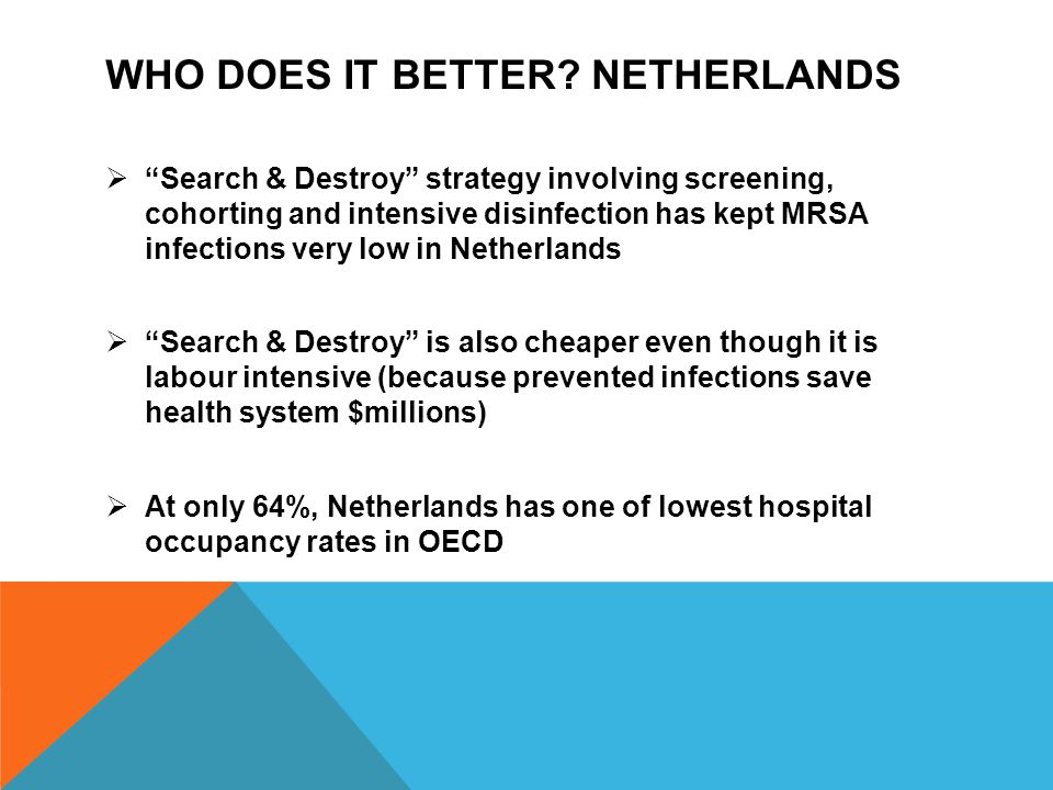"WHO DOES IT BETTER? NETHERLANDS  ""Search & Destroy"" strategy involving screening, cohorting and intensive disinfection has kept MRSA infections very"