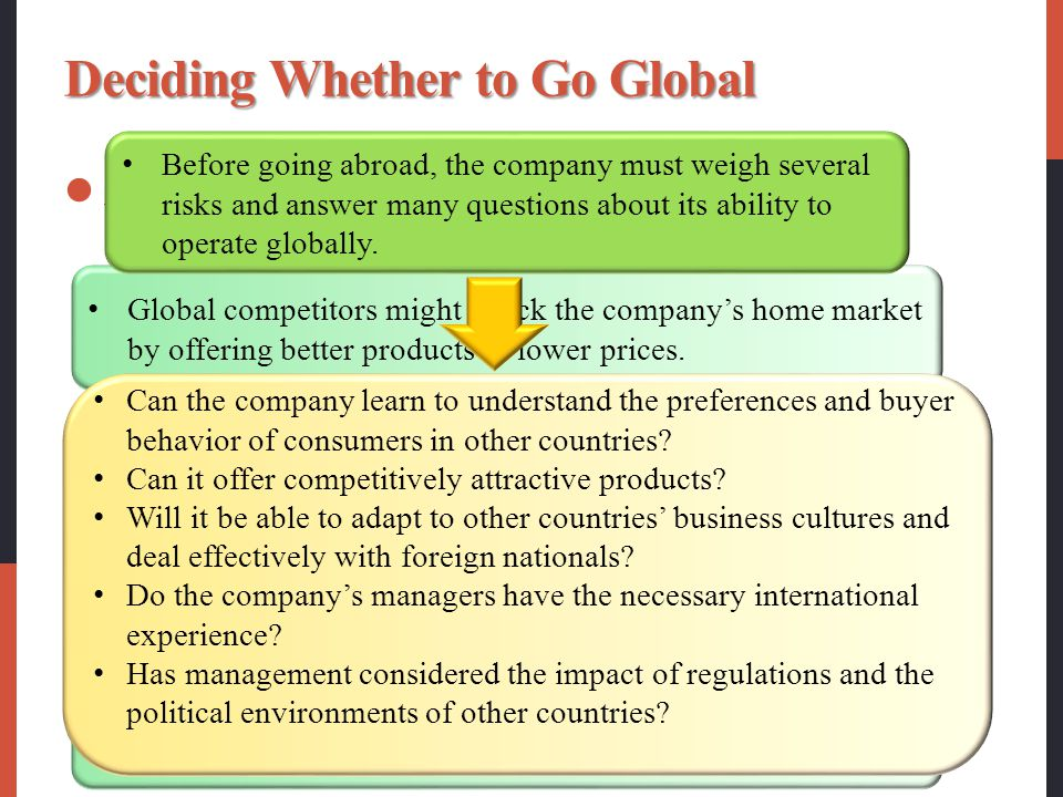 Deciding Whether to Go Global Any of several factors might draw a company into the international arena. Global competitors might attack the company's