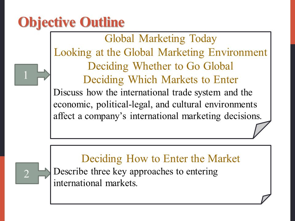 1 Global Marketing Today Looking at the Global Marketing Environment Deciding Whether to Go Global Deciding Which Markets to Enter Discuss how the int