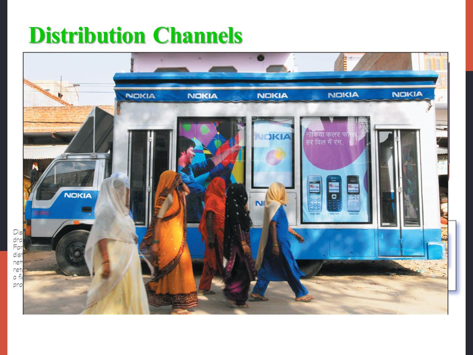 Distribution Channels Whole-channel view designs international channels that take into account the entire global supply chain and marketing channel, f