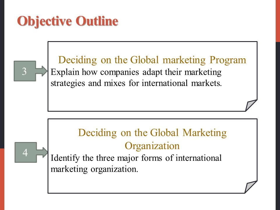 3 Deciding on the Global marketing Program Explain how companies adapt their marketing strategies and mixes for international markets. 4 Deciding on t