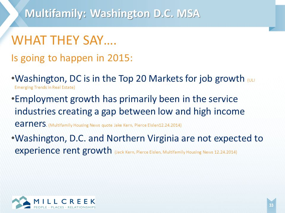 Is going to happen in 2015: Washington, DC is in the Top 20 Markets for job growth (ULI Emerging Trends in Real Estate) Employment growth has primarily been in the service industries creating a gap between low and high income earners.