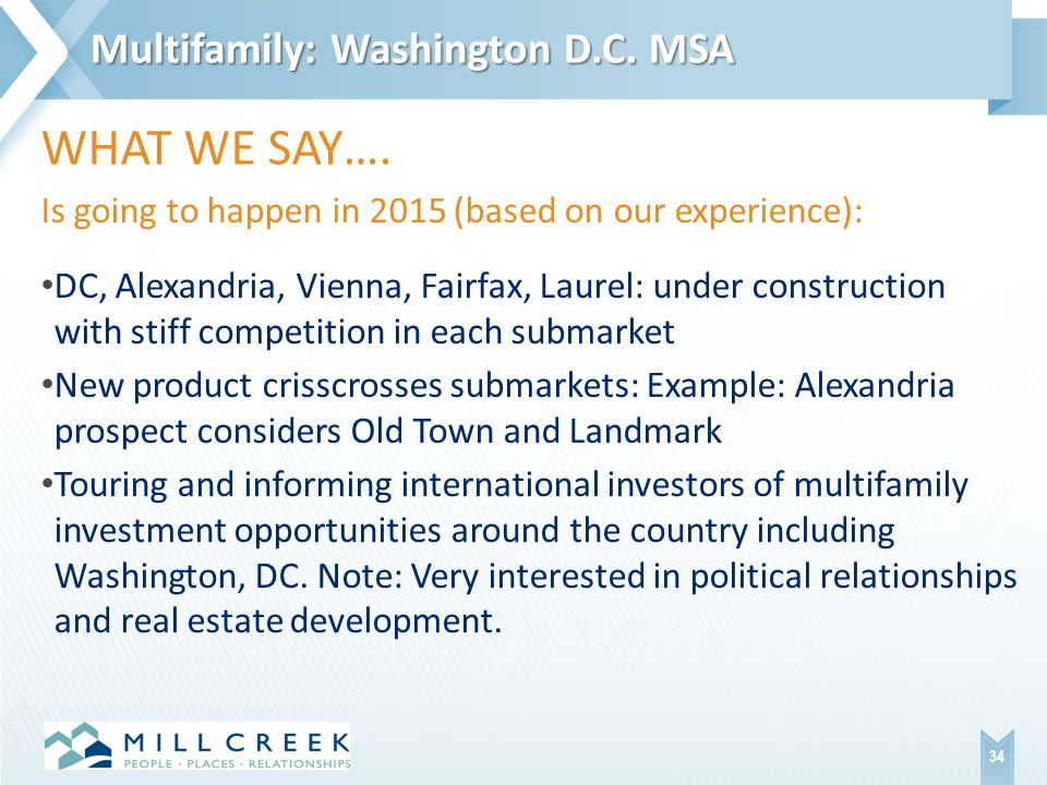 Is going to happen in 2015 (based on our experience): DC, Alexandria, Vienna, Fairfax, Laurel: under construction with stiff competition in each submarket New product crisscrosses submarkets: Example: Alexandria prospect considers Old Town and Landmark Touring and informing international investors of multifamily investment opportunities around the country including Washington, DC.