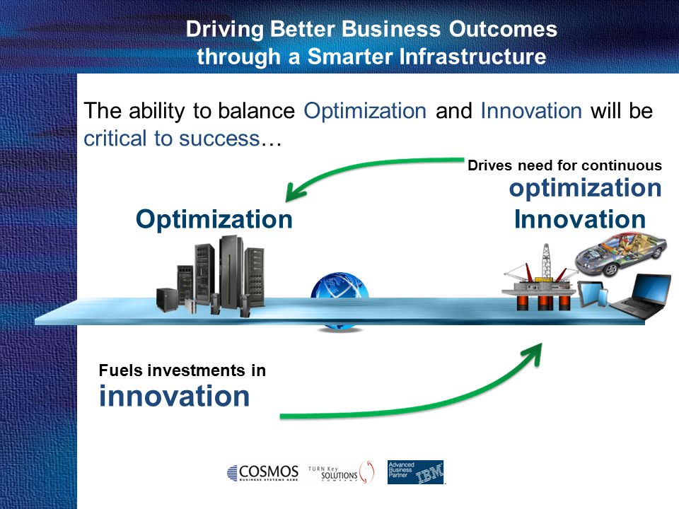 Cosmos Business Systems & IBM Hellas Driving Better Business Outcomes through a Smarter Infrastructure Fuels investments in innovation Drives need for