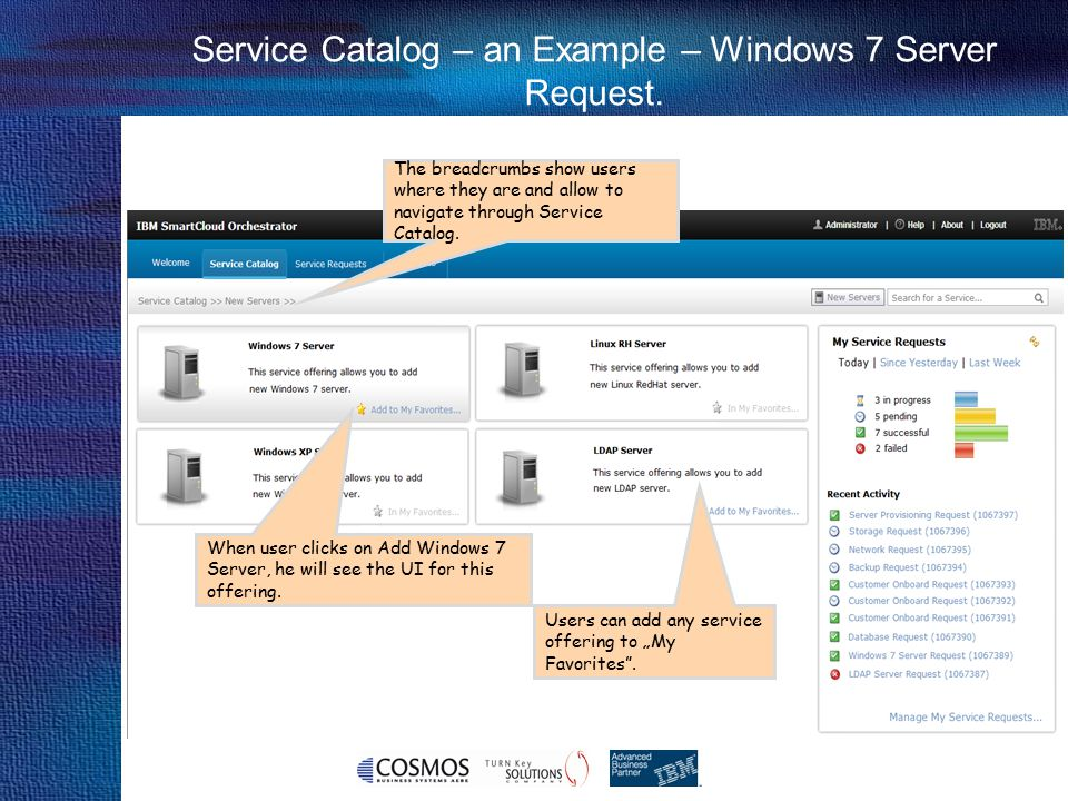 25 Cosmos Business Systems & IBM Hellas Service Catalog – an Example – Windows 7 Server Request. The breadcrumbs show users where they are and allow t