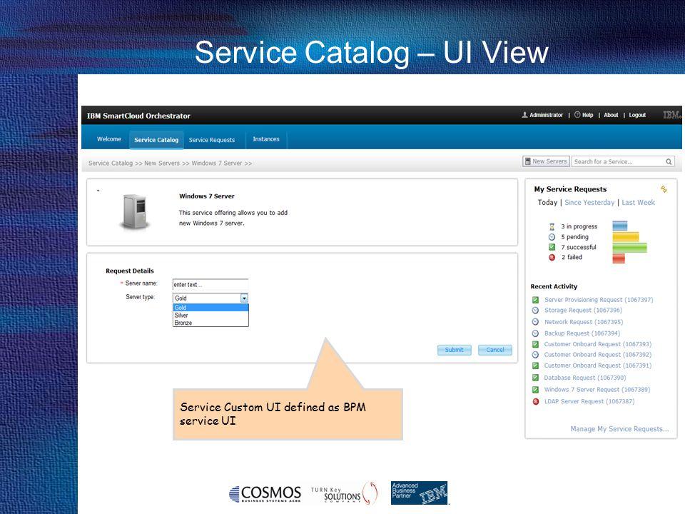 26 Cosmos Business Systems & IBM Hellas Service Catalog – UI View Service Custom UI defined as BPM service UI