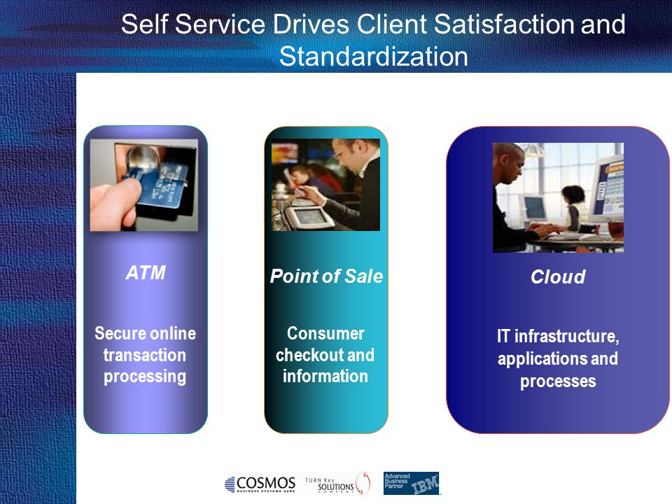 Cosmos Business Systems & IBM Hellas Cloud Enabled Data Center capabilities Increasing Capability Simple IaaS Services (VMs) 1 1 Cloud Governance 2 2 Advanced IaaS Services 3 3 Advanced IaaS services integrated with ITIL processes 4 4 VM provisioning & On-boarding Role & Authentication Management Cloud Management VM Image Construction Image Management Usage metering, accounting & chargeback Virtualised Infrastructure Monitoring Capacity Management and Planning Event Management Patch Management Endpoint Compliance & Management Backup & Restore Storage Provisioning & Automation Management Network Provisioning & Automation Management Services Orchestration Hybrid Cloud Integration Problem & Incident Management IT Asset Management License Management Change & Configuration Management Service Desk Release Management Advanced security ( identity and access, security information and events mgmt)