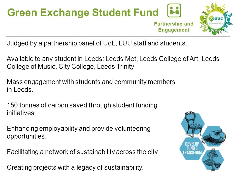 Green Exchange Student Fund Judged by a partnership panel of UoL, LUU staff and students.
