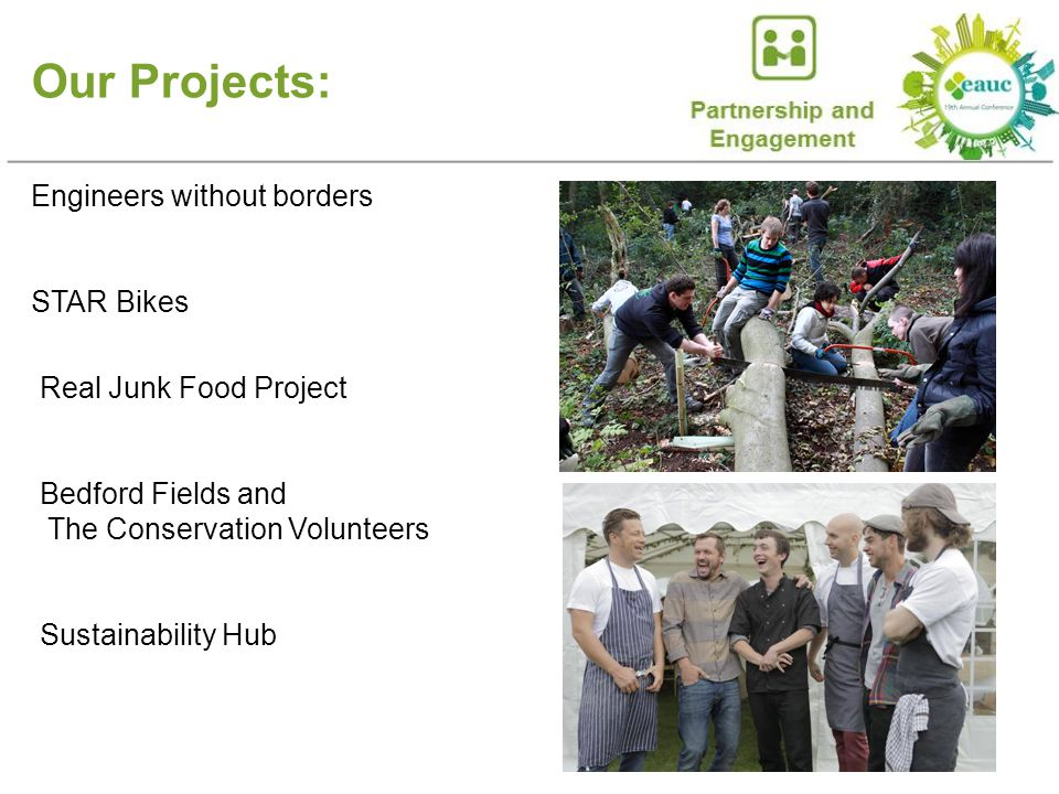 Our Projects: Engineers without borders STAR Bikes Real Junk Food Project Bedford Fields and The Conservation Volunteers Sustainability Hub